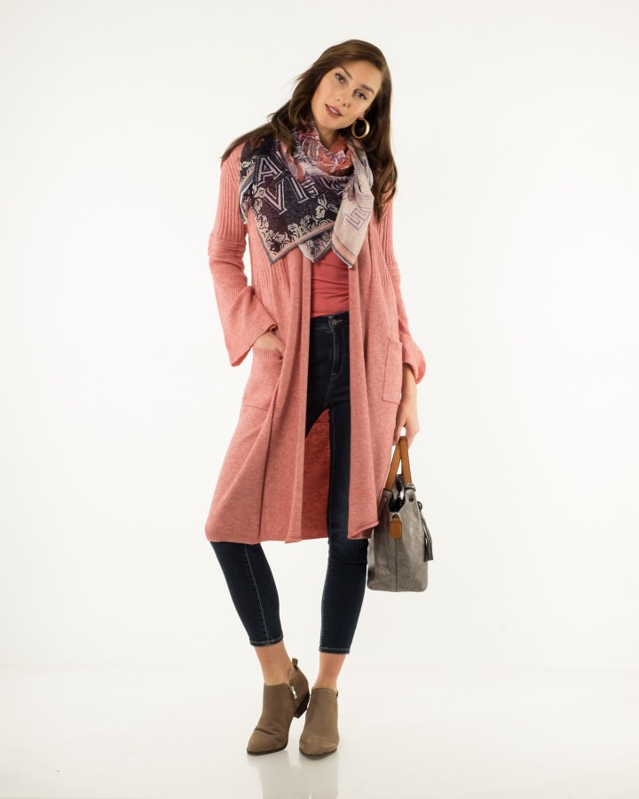 470720e159 A more exaggerated feminine take on a long cardigan...note the shade